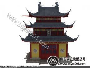 中式钟楼模型